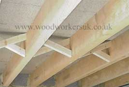 Herring-bone strutting used in-between floor joists