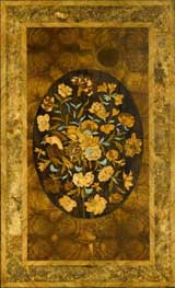 Marquetry - decorative inlay using thin veneers of timber