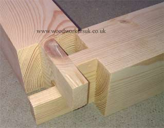 Tease tenon picture showing the crossing tenons prior