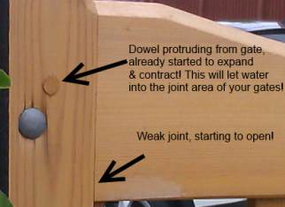 Doweled mortice and tenon joint on a timber gate