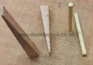 Wedges and dowels for securing a joint