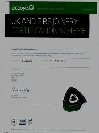 Accoya approved joinery manufacturers certificate