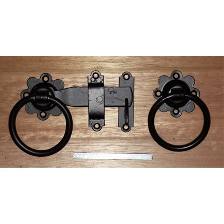"Ring Gate Latch 150mm/6"" - Black on Galv-0"