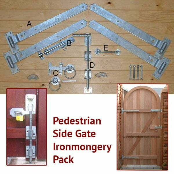 Pedestrian/Side Access Gate Ironmongery Pack (Black on Galv)-0