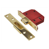 StrongBOLT 2100S BS 5 Lever Mortice Deadlock 68mm 2.5in Satin Brass Box + 13mm Rebate kit (Optional)-0