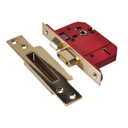 StrongBOLT 2200S BS 5 Lever Mortice Sashlock Satin Brass 68mm Box + 13mm Rebate kit (Optional)-0