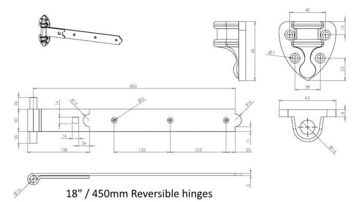 Heavy Duty Reversible Gate Hinges (Galv)-1283