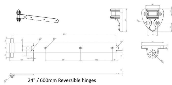 Heavy Duty Reversible Gate Hinges (Galv)-1281