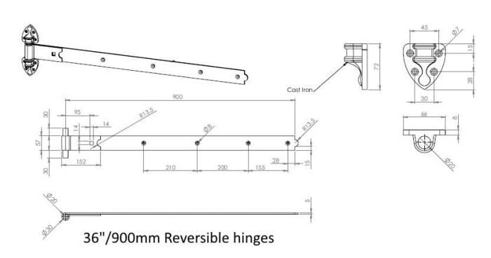 Heavy Duty Reversible Gate Hinges (Galv)-1282