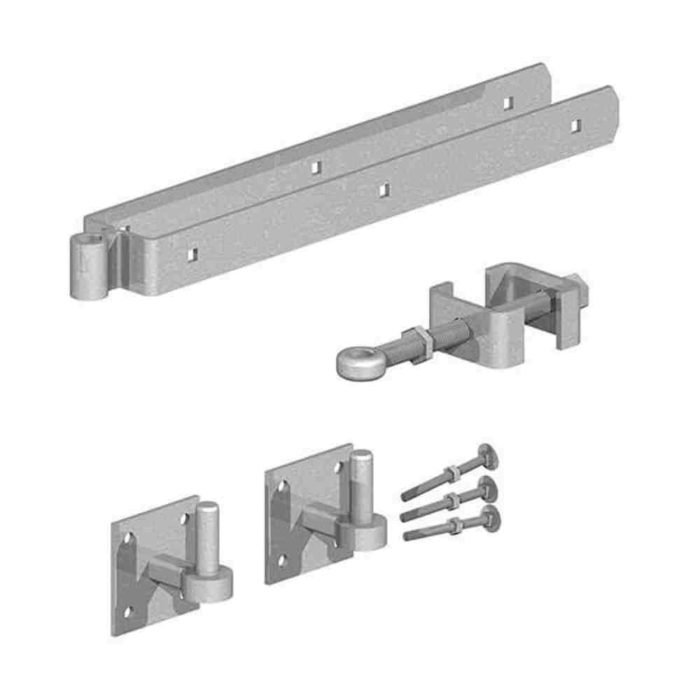 Field Gate Hinge Sets Bottom Hinge Adjustable on 4 inch Square Plates Galvanised
