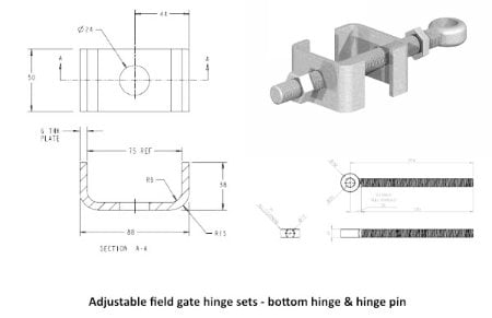 Field Gate Hinge Sets (Bottom Hinge Adjustable)-1218