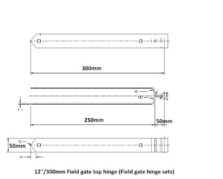 Field Gate Hinge Sets (Bottom Hinge Adjustable)-1220