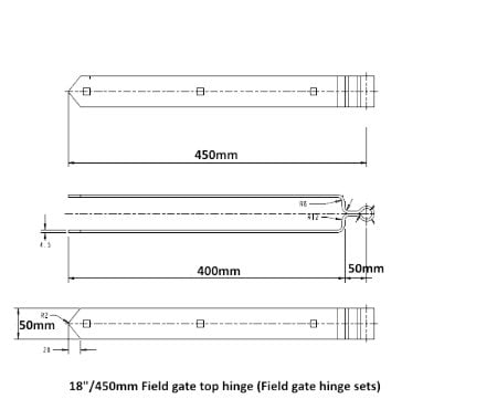 Field Gate Hinge Sets (Bottom Hinge Adjustable)-1222