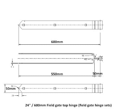 Field Gate Hinge Sets (Bottom Hinge Adjustable)-1221