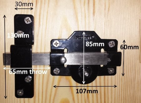 Perry Single Locking Long Throw Gate Locks (Key Lockable One Side, Latch Bolt Other Side)-1257