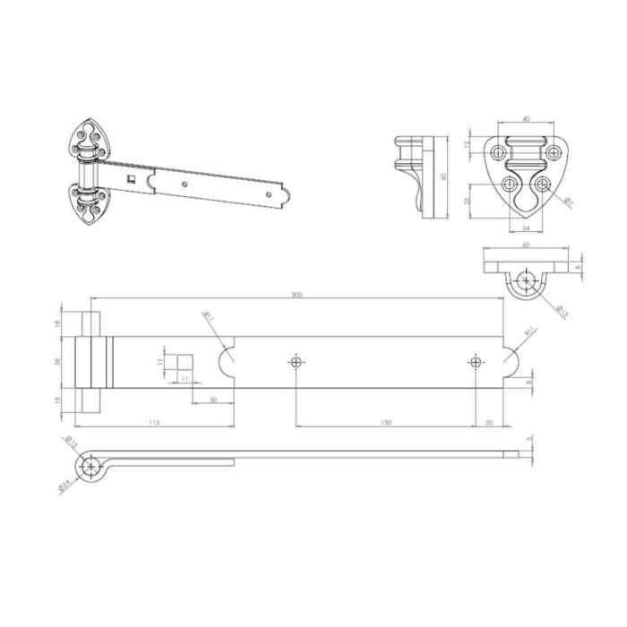 heavy reversible hinges galvanised 300mm