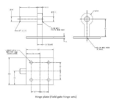 Field Gate Hinge Sets (Bottom Hinge Adjustable)-1223