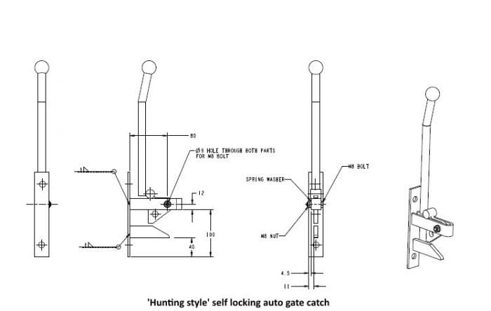 Hunting Type Self Locking Auto Gate Catch & Striker Pin-0