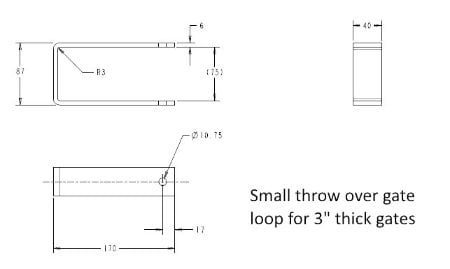 "Small Throw Over Gate Loops 6""/150mm (Galv)-1215"