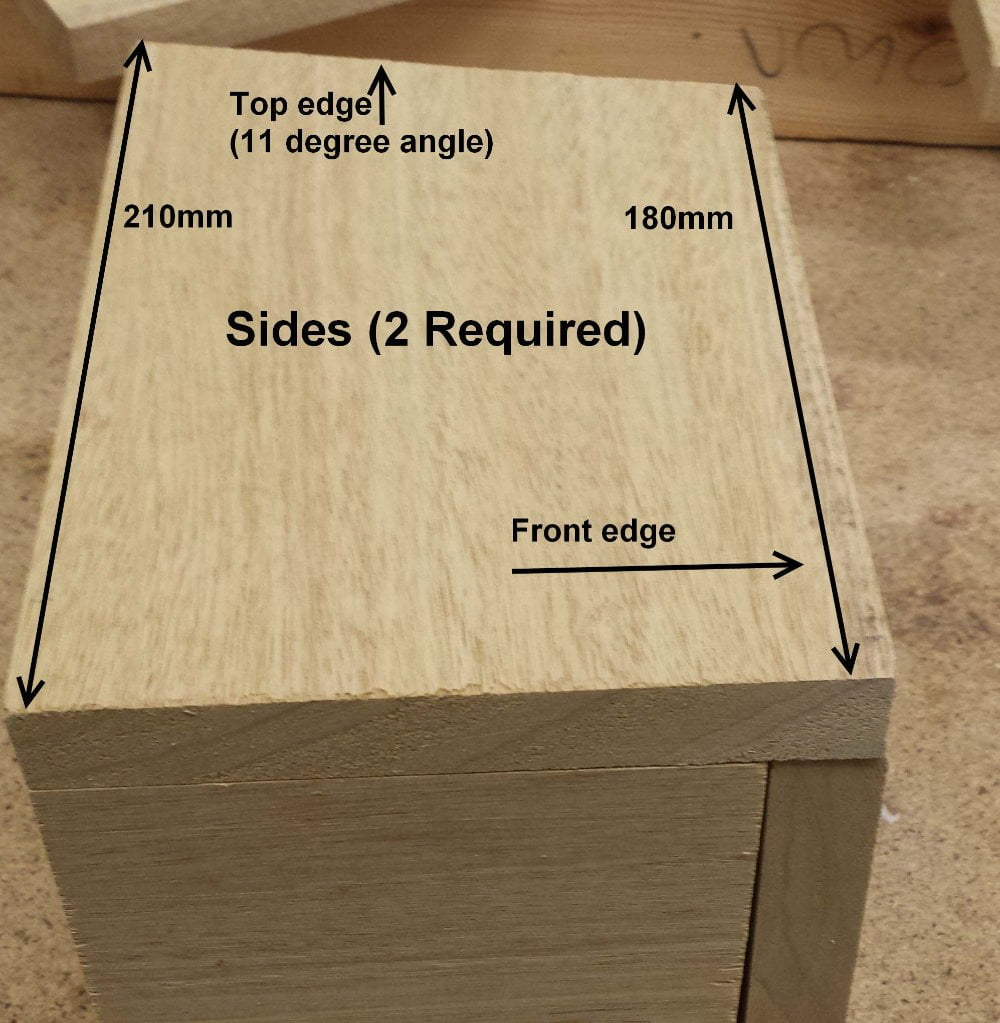 Nesting bird box sides sizes