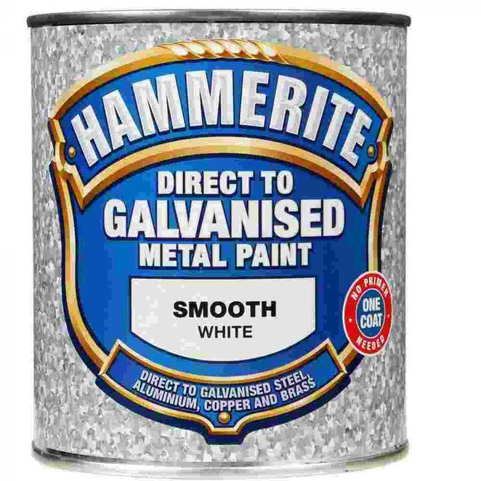 Hammerite Direct To Galvanised Metal Paint White 750ml