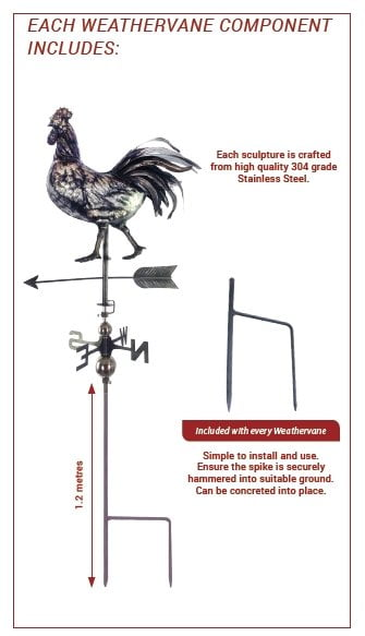 3D Rooster Weathervane With Garden Stake-1580