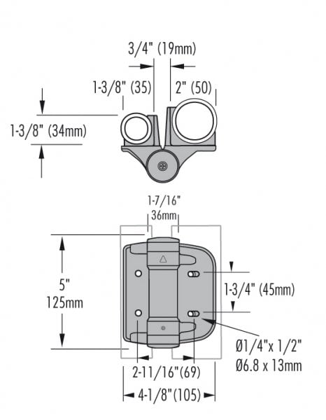 D&D Truclose Heavy Duty Hinges For Use On Different Diameter Posts-1693