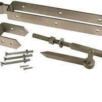 "Heavy Duty Field Gate Adjustable Double Strap Hinge Set Galvanised 24""-0"