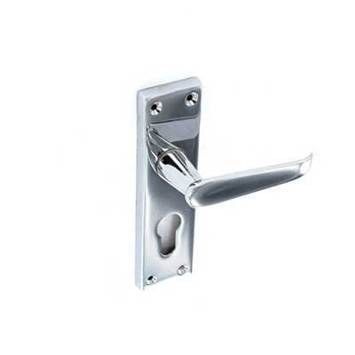 Chrome flat euro lock handles 155mm