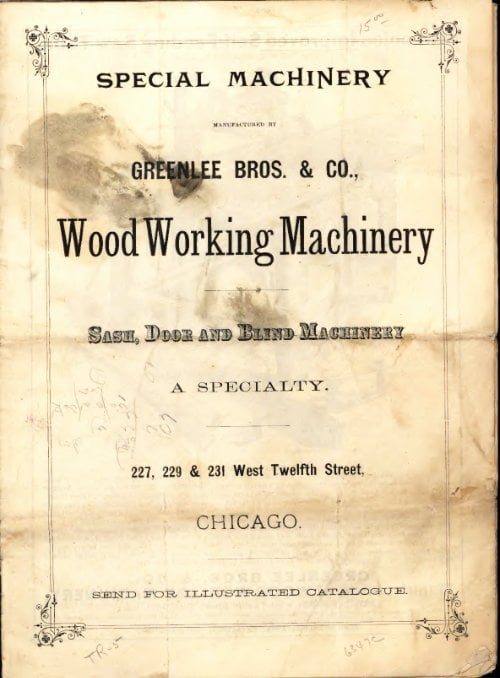 Greenlee Bros Woodworking Machinery 1885