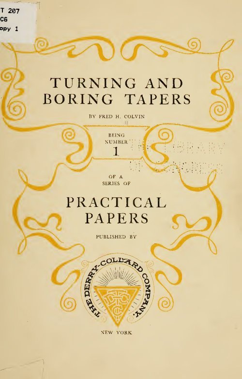 Turning And Boring Tapers F H Colvin 1902