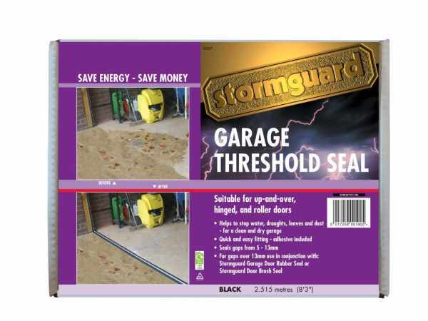 The Stormguard garage door seal sits directly on the floor and is secured in place with sealant
