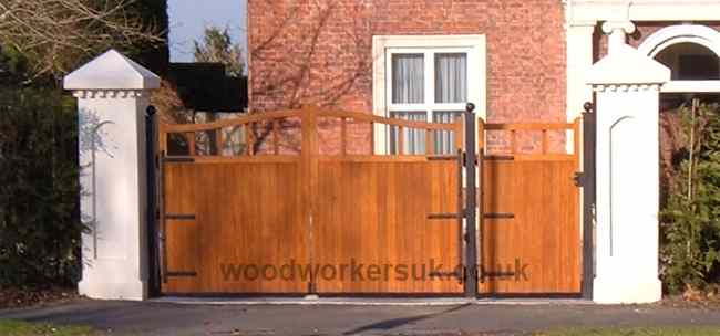 Our Caernarfon pair, combined with a St Asaph pedestrian gate (Idigbo – Hardwood)