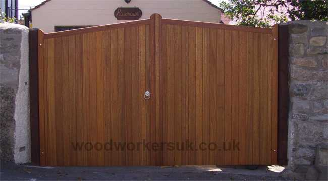 Colwyn driveway gates in Meranti, hardwood, a matching pedestrian gate is also available