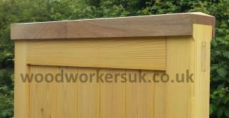 Shown is our Denbigh gate in Softwood with a wraparound capping. The capping is shaped to avoid moisture build up and will make for a longer life for the gate. As the gate is Softwood, the capping is in Meranti to further add to the lifespan of the gates.