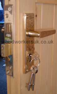 5 Lever mortice sashlock (with brass handles) from our garage door ironmongery pack 3 (lock and latch pack). The sashlock comes with a choice of brass, black and chrome handles.
