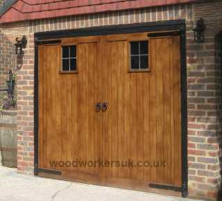A Bespoke pair of Oak garage doors, made to our customers own design