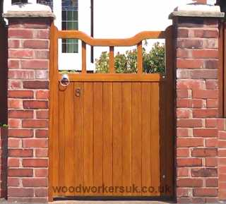 One of our Bala garden gates in Prime European Oak (Shown with a Light Oak Sikkens stain applied)