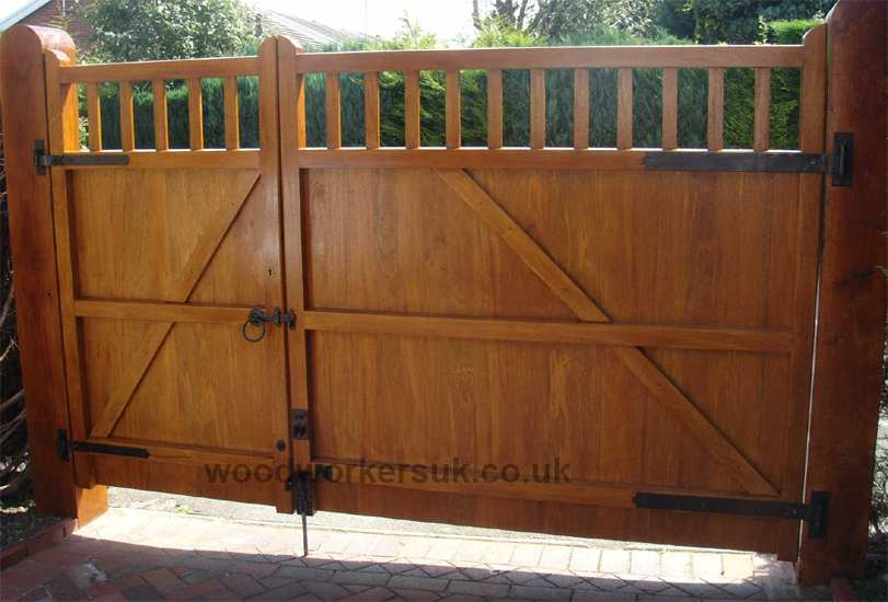 The St Asaph drive gates from the rear, pictured in Idigbo (stained in a light oak stain)