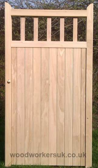 Our St Asaph pedestrian gate shown in Idigbo (Hardwood). Based on a through wedged morticed & tenon frame and made to the sizes you require!