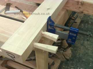 Close up image of the joints used, the wedges are cut flush to the door stiles once the glue is dry and then sanded smooth