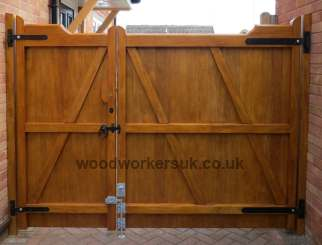 Rear view of a pair of our Nannerch driveway gates, as an unequally split pair