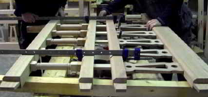 Once the spindles and infill timbers are in place, the main part of the gates can be put together