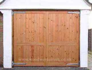 Our Menai fully boarded wooden garage door