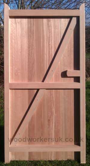 Rear view of our close boarded Denbigh pedestrian gates in Softwood