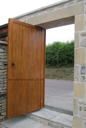 Our Denbigh pedestrian gate fitted between two posts within a stonework opening