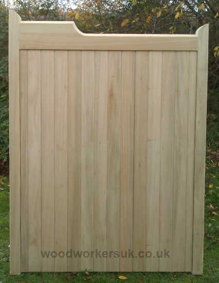 Our Nannerch pedestrian gate with its distinctive gunstock head. Shown in Idigbo
