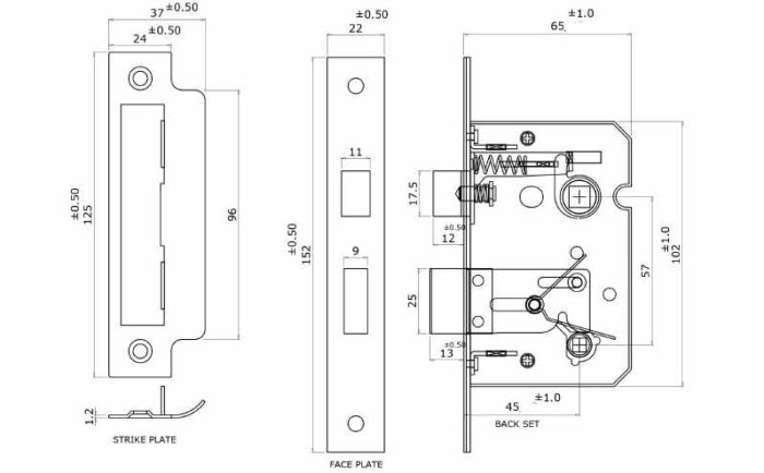 Perry Shield CE Certifire Bathroom Lock with Removable Plate spec drawing