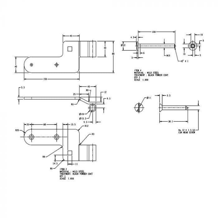 Curved rail hinge set bottom hinge spec drawing