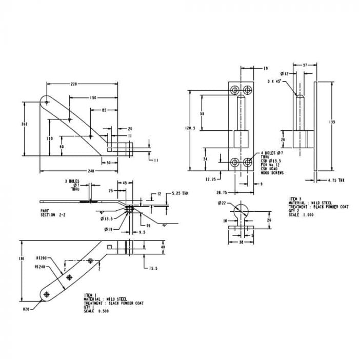 Curved rail hinge set top curved hinge spec drawing